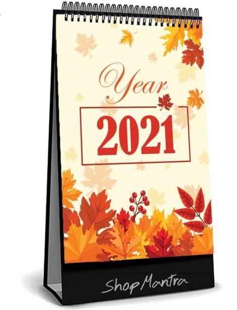 RadhikaStore Autumn Season with Dried Leafs Desk Calendar -Table Calendar 2021 2021 Table Calendar