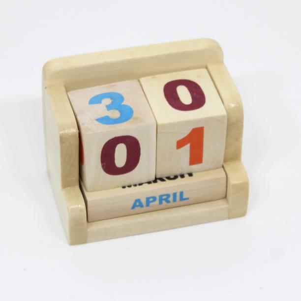 Ivei Minimal Desk Calendar - Wooden Perpetual Calendar - Mini Calendar for Office Desk Decor - Wooden Desktop Calendar Blocks for Home, School, Office - Natural 2021 Table Calendar