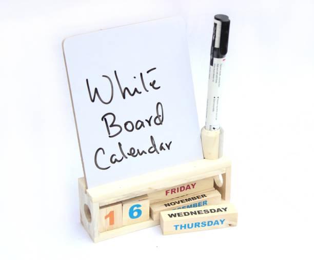 Ivei Wooden Desk Calendar with White Board - Utility Desk Calendar - Wooden Perpetual Calendar Set for Desk Decor, Study Room - Endless Calendar with White Board for Office, School, Home 2021 Table Calendar