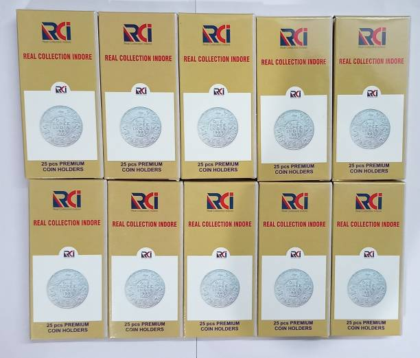 rci Coin Collecting Holders - 10 Packets -250 PCS , Each Pack 25 PCS - Sizes 0 to 9 Coin Bank