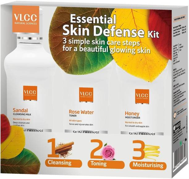 VLCC Essential Skin Defense Kit (Sandal Cleansing Milk + Rose Water Toner + Honey Moisturiser)