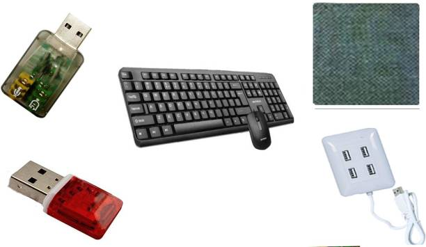 Intex 1 usb Wired Keyboard & Soft Keys Ergonomic & Key Stroke Life Time & Standard key 1 wired usb Mouse smooth Scroll soft touch 1 Wired usb Hub 4 Ports Light compact High speed 1 usb Card Reader high Speed work 1 usb sound Headset Speakers Microphone 1 Mouse Pad best quality item Combo Set