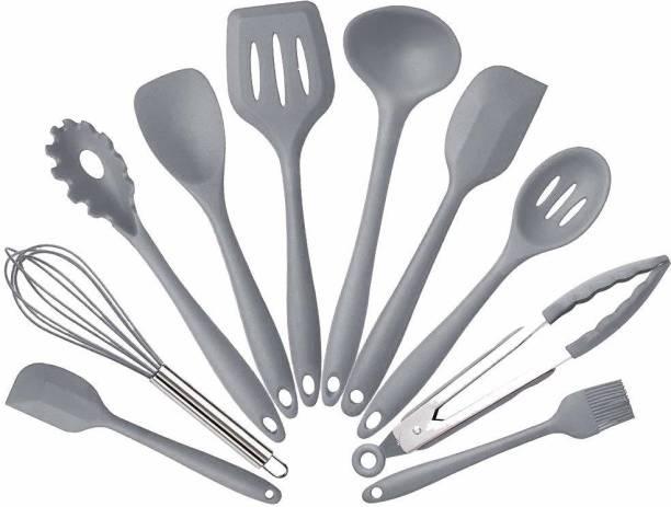SYGA 10SpoonSet_Grey Silicone Kitchen Utensils Set, 10 Pieces Silicone Cooking & Baking Tool Sets Non-Toxic Hygienic Safety Heat Resistant (Grey) Grey Kitchen Tool Set