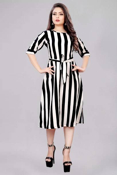 tanvi creation Women A-line Black, White Dress