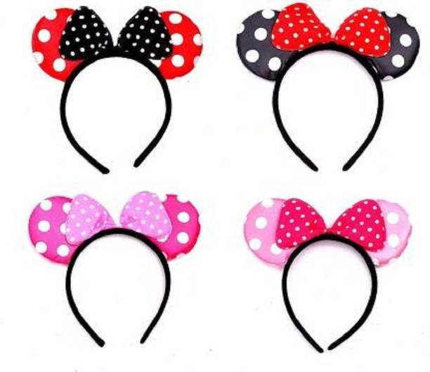 KRISSDIL Mouse Glitter Ear Bows Headbands/Hairband for Kids Baby Girls Party Hair Band Accessories Minnie Hairband for Girls Adults Bow Hair Band Theme Birthday Head Band