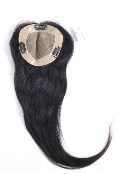 Ritzkart Women hair Topper FREE STYLE /Patch Straight Double Skin Layer  Pieces Natural remi Human  with Durable Base Hand Made Clip Hair Extension