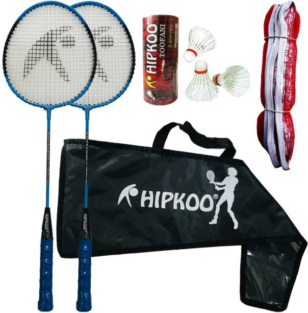 Hipkoo Sports Fine Badminton Combo Set with 2 Rackets, 3 Feather Shuttles And Net Badminton Kit