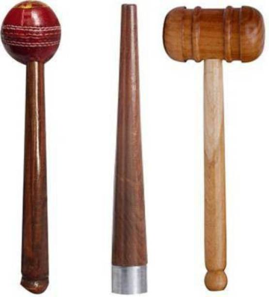 Rockjon Set of 2Cricket Bat Knocking Mallet with 1Handle Gripper Cone Cricket Kit Wooden Bat Mallet