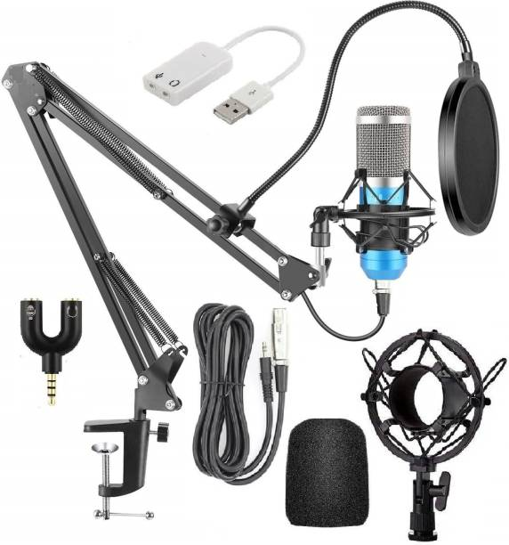 Corslet BM800 Condenser Studio Microphone for Voice Recording Kit with NB-35 Stand Filter 3.5mm Audio Jack & Sound Card Mic Set for Singing Voice Studio YouTube live Streaming Recording Podcast Broadcasting Microphone for Karaoke Podcasting Vocal Broadcast Studio Microphone Microphone Kit
