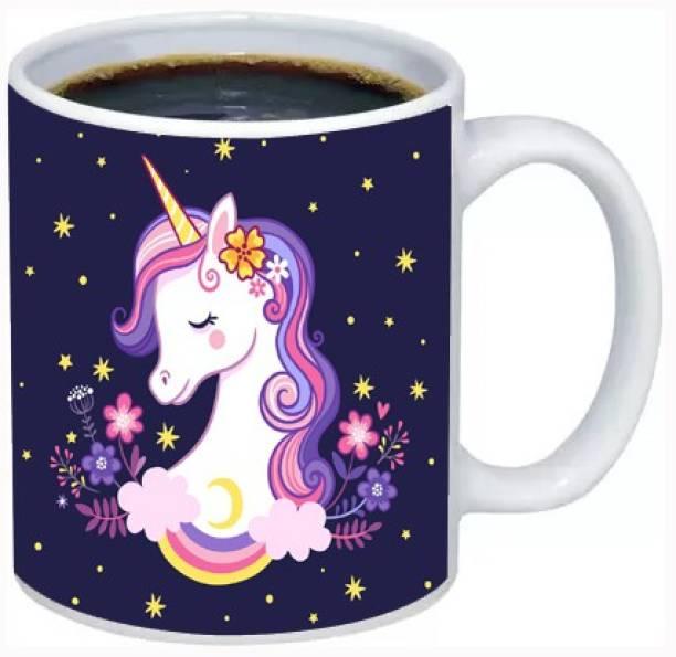 Rosemelt Beautiful Unicorn Head Printed Coffee Tea Cup Best Birthday Gift for Unicorn Lover With Glossy Finish with Vibrant Print theme 2 Ceramic Coffee Mug