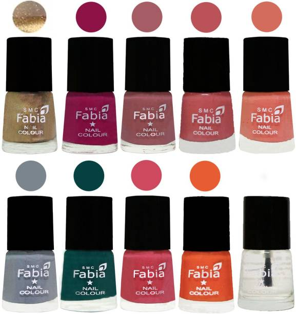 Fabia Multicolor Nail Polish/Mix Color/Combo Color Set of 10pcs X 10ml (2609201865) Gold-Raspberry-Lip-Bazooka Joe-Light Peach-Wild Gray Yonder-Dark Green-Shock Pink-Sour Orange-Top Coat