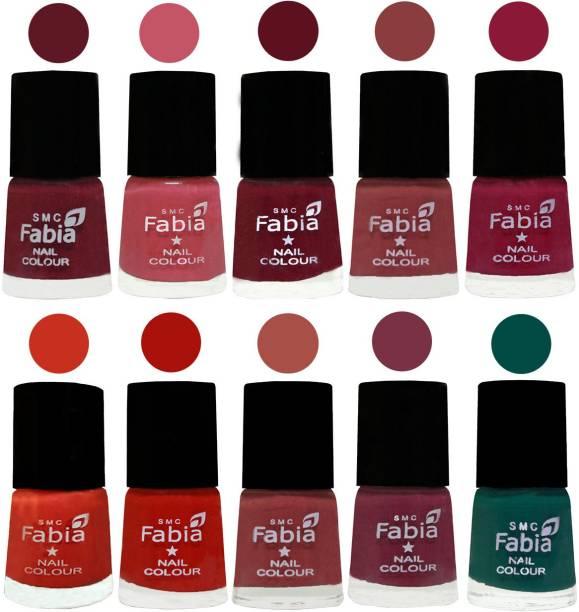 Fabia Matte Nail Polish Combo/Multicolor Nail Polish/Mix Color/Combo Color Set of 10pcs(6ml each) 110202093 Jam-Light Pink-Maroon-Dark Nude-Pure Wine-Orange-Reddish Red-Dark Peach-Plum-Pine Green