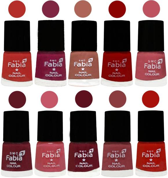 Fabia Matte Nail Polish Combo/Multicolor Nail Polish/Mix Color/Combo Color Set of 10pcs(6ml each) 110202037 Candy Orange-Dark Magenta-Coral-Red-Coral Pink -Jam-Light Pink-Maroon-Dark Nude-Reddish Red