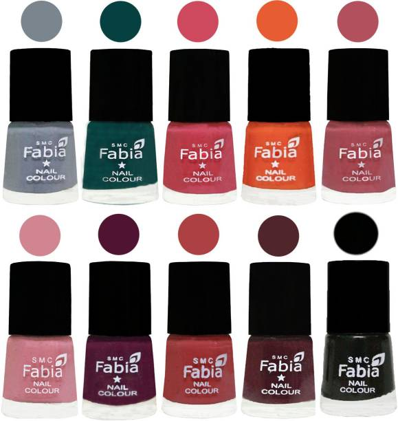 Fabia Multicolor Nail Polish/Mix Color/Combo Color Set of 10pcs X 10ml (2609202017) Wild Gray Yonder-Dark Green-Shock Pink-Sour Orange-Mauve Pink-Rose-Boysenberry-Peach-Wine-Black