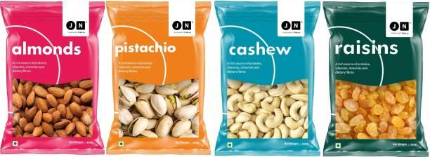 Jn Premium Almonds, Cashews, Pistachios and Kishmish Combo Gift Pack of 4 (4 x 250g) Almonds, Cashews, Pista & Raisins (4 x 0.25 kg) Cashews, Almonds, Raisins, Pistachios