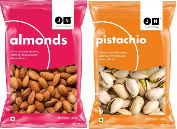 Jn Premium Pistachios and Almonds Combo Pack of 2 Almonds & Pistachios (2 x 250 g) Almonds, Pistachios