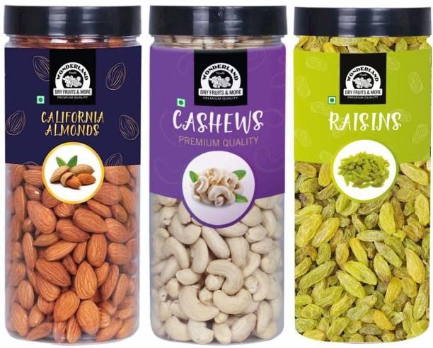 WONDERLAND Foods Premium Dry Fruits Combo (Pack of 3 * 500 gram each) Almonds, Cashews, Raisins
