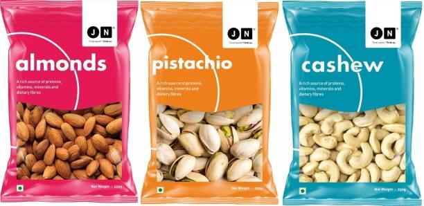 Jn Premium Almonds, Pistachios and Cashews Combo Gift Pack of 3 (3 x 250g) Almonds, Pistachios & Cashews (3 x 0.25 kg) Cashews, Pistachios, Almonds
