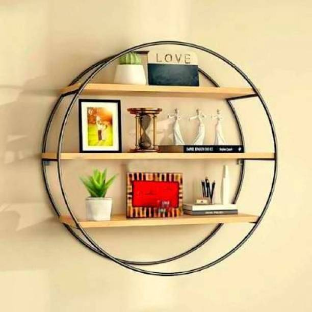 Xtenshion Crafts Wall Shelf - Style Living Room Wall Hanging, Iron Shelf, Solid Wood Shelves Partition Wall Round Floating Display Stand Bookcase Flower Stand Iron, MDF (Medium Density Fiber) Wall Shelf