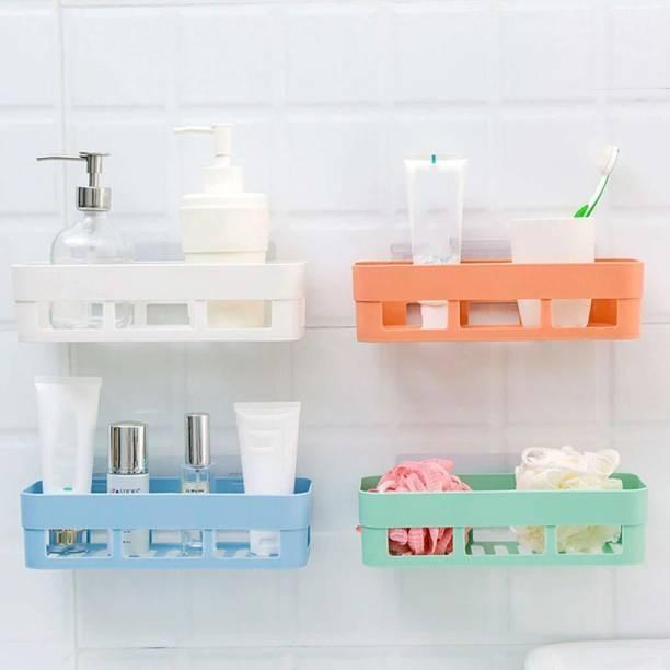 HXOSET Plastic Bathroom Kitchen Organize Shelf Rack Shower Corner Caddy Basket with Strong Adhesive Magic Sticker - White (4 Pcs Set) Plastic Wall Shelf