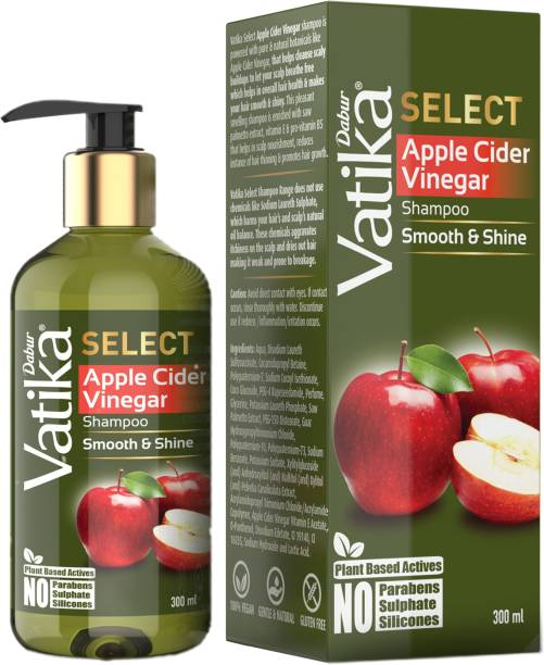 Dabur Vatika Select Apple Cider Vinegar Shampoo|Smooth & Shine|No Parabens, Sulphate, Silicones