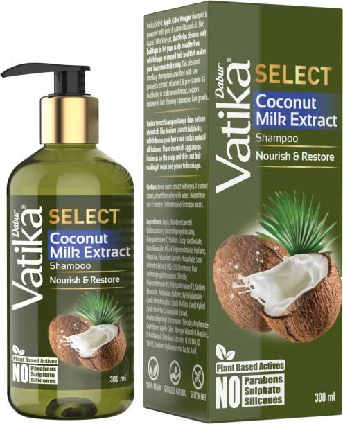 Dabur Vatika Select Coconut Milk Extract Shampoo|Nourish & Restore|No Parabens, Sulphate & Silicones
