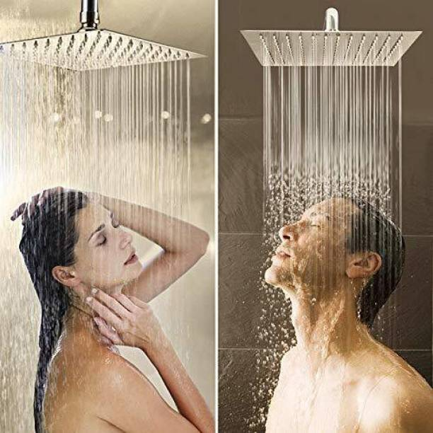 High Grade Heavy Quality Ultra Slim Shower 8 X 8 Stainless Steel 304 Grade + 15 Inch Heavy Square Shower Arm 18 Ghz + Square Flange Complete Set Shower Head Shower Head Shower Head