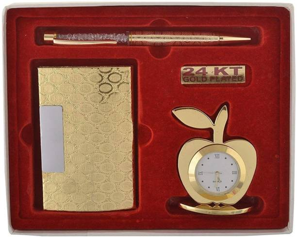 Lavanaya Silver 3 In 1 Premium Gift Set Of Golden Apple Clock With Crystal Pen And Business Card Holder With Premium Packaging Decorative Showpiece  -  17 cm