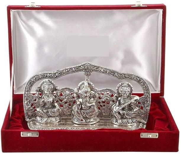 Lavanaya Silver Silver Plated Laxmi Ganesh Sarswati God Idol With Beautiful Velvet Box Exclusive Gift For Diwali Gift, Wedding Gift, Birthday Gift And Corporate Gift Item Decorative Showpiece - 16 cm Decorative Showpiece  -  10 cm