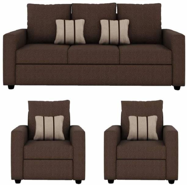 gnanitha Fabric 3 + 1 + 1 BROWN Sofa Set