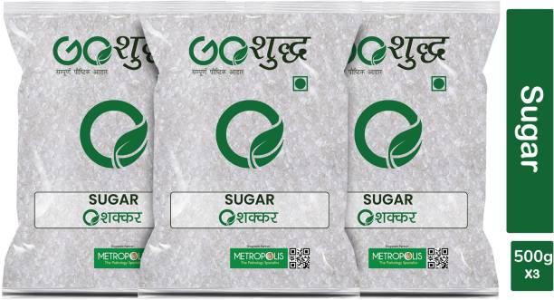 Goshudh Premium Quality White Sugar pack of 3 500g each Sugar