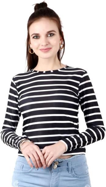 POPWINGS Casual Full Sleeve Solid Women Black Top