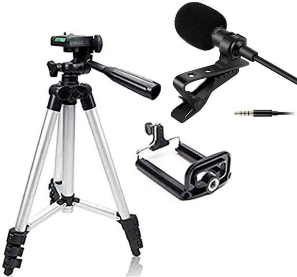 neojon 3110 Mobile Phone & Camera Stand Holder Tripod Kit with Collar Microphone Kit with Voice Recording Filter Mic for Recording Singing YouTube (2in1 Combo Pack) Tripod, Monopod Kit, Tripod Kit, Monopod