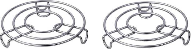 IndoWare Kitchen Cooking Pot Steaming Tray Stand Stainless Steel Round Cooker Steamer Rack Stand Cookware Tool Mirror Trivet (Pack of 2) Mirror Trivet