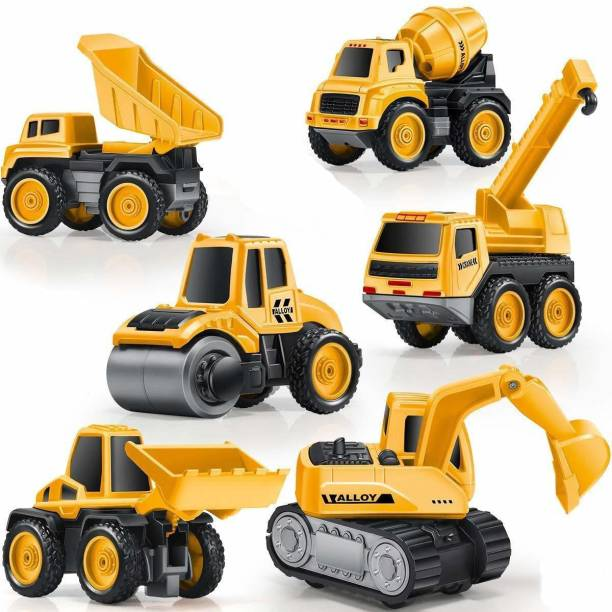 Learn With Fun Die Cast Metal Unbreakable Pull Back JCB Dumper Roller Mixer Engineering car team Toy for Boys girls Kids