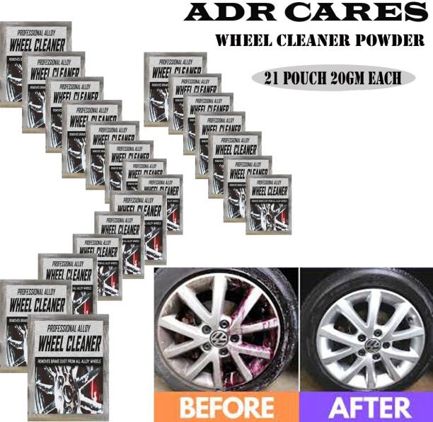 ADR CARES Alloy Wheel Cleaner renews shine and sparkle metals by removing surface rust, stains, oxidation, water spots, Car Care/Car Accessories/Automotive Product pack of 21 pouch (20gm) each 420 g Wheel Tire Cleaner