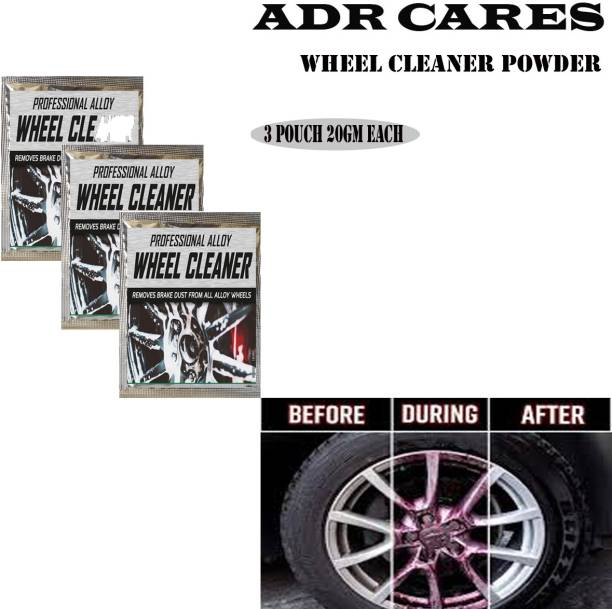 ADR CARES Alloy Wheel Cleaner renews shine and sparkle metals by removing surface rust, stains, oxidation, water spots, Car Care/Car Accessories/Automotive Product pack of 03 pouch (20gm) each 60 g Wheel Tire Cleaner