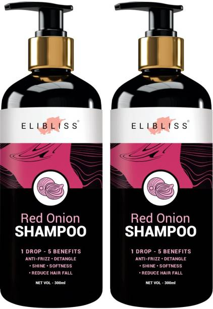ELIBLISS Red Onion Shampoo pack of 2 With 28 Hair Boosters Controls Hair Loss & Promotes Healthy Hair Growth Men & Women