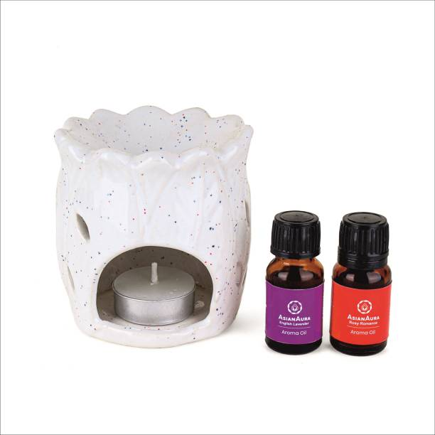 Asian Aura Ceramic Aroma T-Light Diffuser with 2 10 ML Aroma Oil and 1 Tea Light Candle Diffuser Set