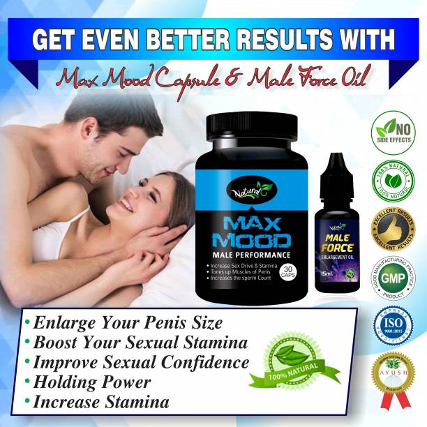 Natural Max Mood capsules And Male Force Oil Ayurvedic Supplement 100% Herbal