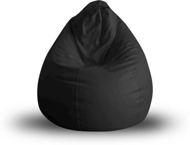 STYLE HOMEZ SHBBCLXLBLKFL Leatherette XL Teardrop Kid Bean Bag
