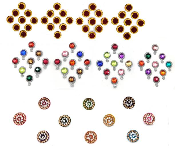 FEBRINA Fashion Multi Color Nug Border Fashionable Bindi Combo of Pcs Forhead Multicolor Bindis
