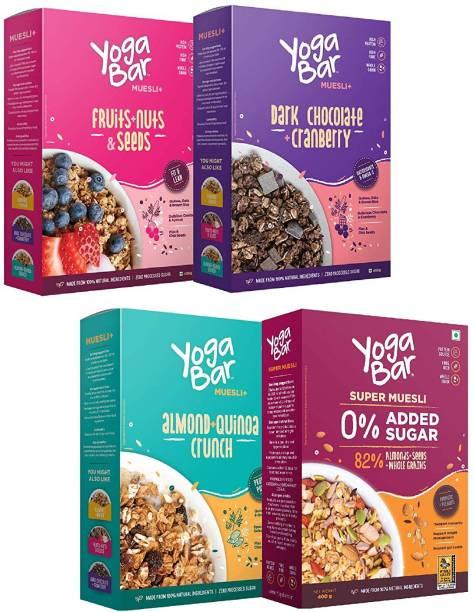 Yogabar Muesli Variety Pack of 4 | Dark Chocolate & Cranberry Muesli | Fruits, Nuts & Seeds Muesli | No Added Sugar Muesli | Almond Quinoa Crunchy Muesli | High Protein Breakfast Cereals