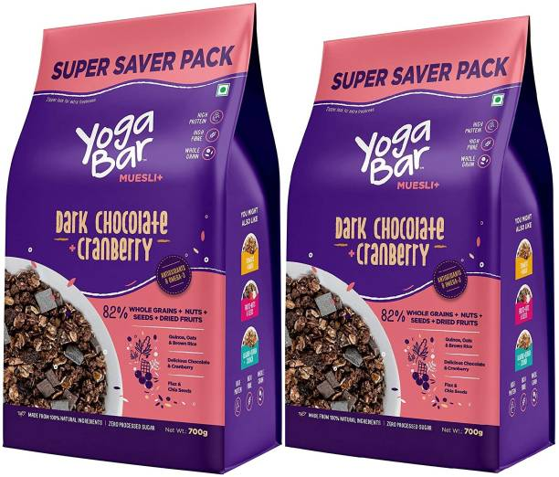 Yogabar Dark Chocolate & Cranberry Muesli | Super Saver 700g x 2 | Wholegrain Breakfast Cereal with Nuts and Oats| High in Protein and Omega 3 | Gluten Free Choco Granola with Chia and Flax Seeds