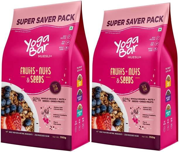 Yogabar Muesli Fruits, Nuts & Seeds   700g x 2   Low Fat Breakfast Muesli with 92% Fruits and Nuts + Seeds + Wholegrains   High Protein Muesli, Anti-Oxidants & Omega3   Gluten Free Granola