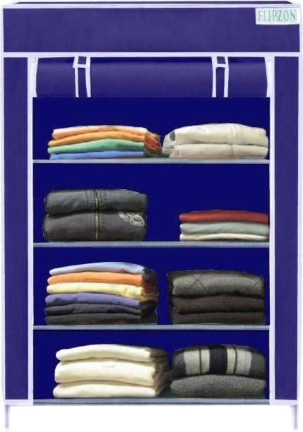 FLIPZON Multipurpose Storage Rack, 4 Layer PP Collapsible Wardrobe