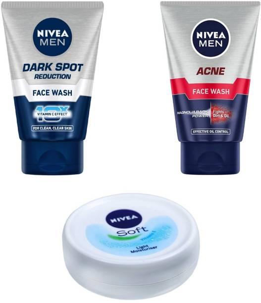 NIVEA Men Dark Spot Reduction Face Wash 100 ml , Acne Face Wash 100 ml & Soft Light Moisturiser 25 ml #6