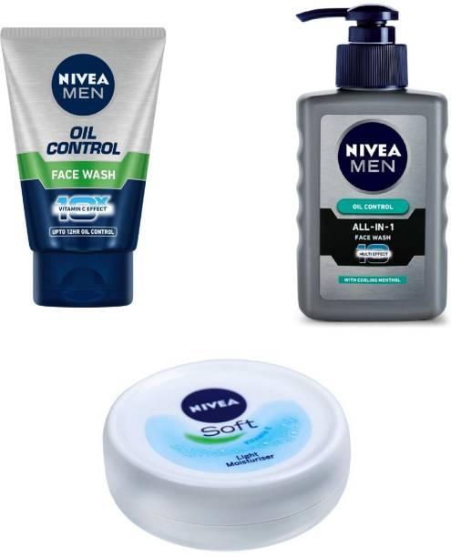 NIVEA Men Oil Control Face Wash 100 ml , All In One Pump Face Wash 150 ml & Soft Light Moisturiser 25 ml #9