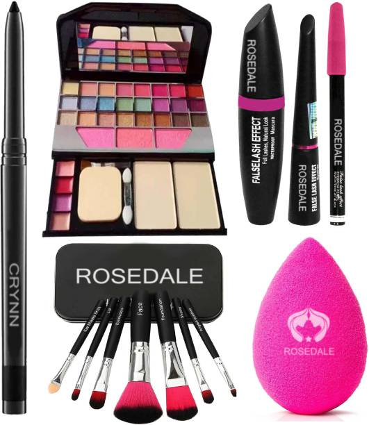 Crynn Smudge Proof Essential Makeup HD11 Beauty Kajal & Rosedale Set of 7 Makeup Brush & Powdered Blender Sponge Puff & TYA 6155 Makeup Kit & 3in1 Eyeliner , Mascara , Eyebrow Pencil