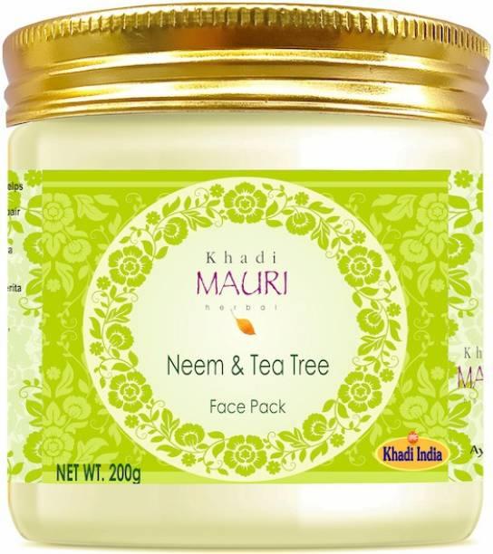 Khadi Mauri Herbal Neem & Tea Tree Face Pack, Fights Acne, Prevents Pigmentation & Spots, NO PARABEN, 200 g